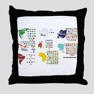 All Countries flags Throw Pillow