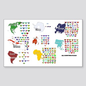 All Countries flags Rectangle Sticker