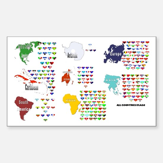 All Countries flags Rectangle Decal