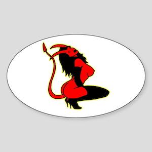 Sexy Devil Girl Tattoo Oval Sticker
