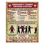 Emergency Zombie defense Station Small Poster