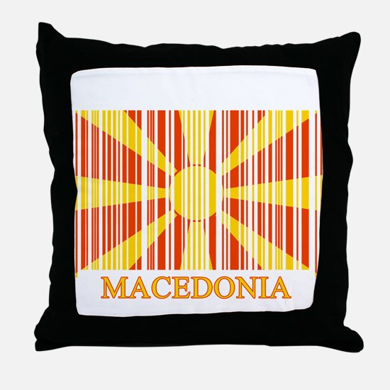 Barcode Macedonia Flag Throw Pillow