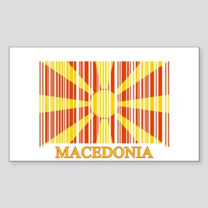 Barcode Macedonia Flag Rectangle Sticker