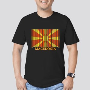 Barcode Macedonia Flag Men's Fitted T-Shirt (dark)