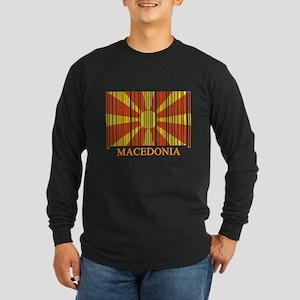 Barcode Macedonia Flag Long Sleeve Dark T-Shirt