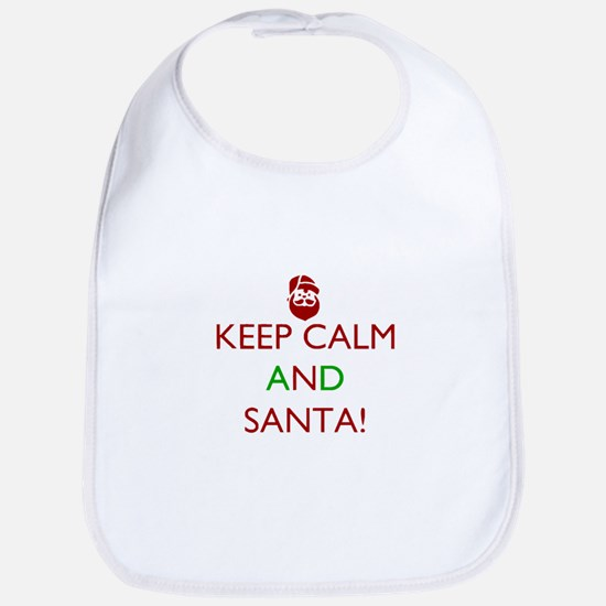 keep calm and Santa Baby Bib
