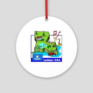 Louisiana Map Ornament (Round)