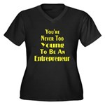 Never Too Young Women's Plus Size V-Neck Dark T-Sh