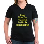 Never Too Young Women's V-Neck Dark T-Shirt