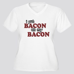 Bacon on Bacon Women's Plus Size V-Neck T-Shirt