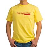 No Smoking Steam Engine Sign Yellow T-Shirt