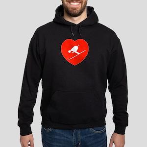 Love Skiing Heart Hoodie (dark)