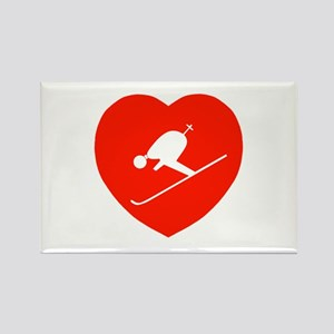 Love Skiing Heart Rectangle Magnet