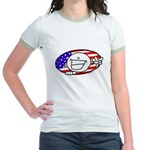 Patriotic Peace Happy Face Jr. Ringer T-Shirt