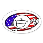 Patriotic Peace Happy Face Oval Sticker