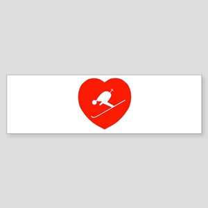 Love Skiing Heart Bumper Sticker
