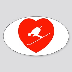 Love Skiing Heart Oval Sticker