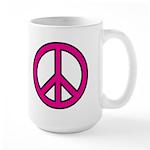 Pink Peace Sign 15 oz Ceramic Large Mug