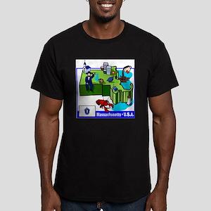 Massachusetts Map Men's Fitted T-Shirt (dark)