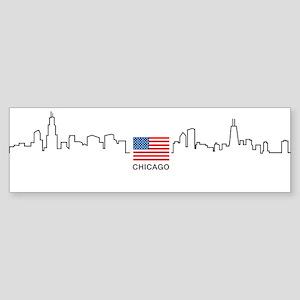 US Flag Chicago Skyline Bumper Sticker
