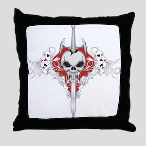 Sword Skull - RED Throw Pillow