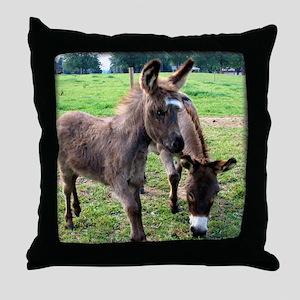 Baby Mini Donkey & Mom Throw Pillow