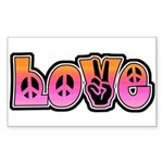 Peace and Love Rectangle Sticker