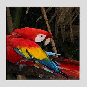 Preening Parrot Tile Coaster