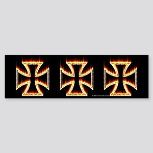 Flames Iron Cross Bumper Sticker