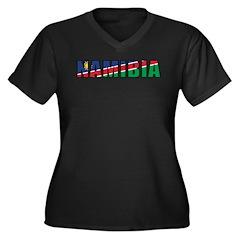 Namibia Women's Plus Size V-Neck Dark T-Shirt