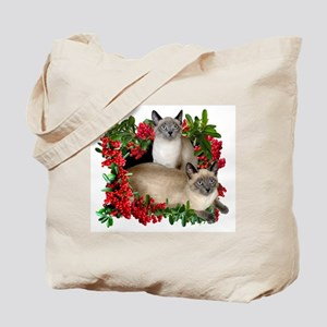 Siamese Cats in Berries Tote Bag
