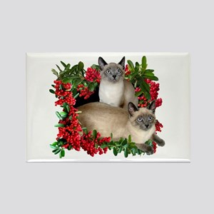 Siamese Cats in Berries Rectangle Magnet