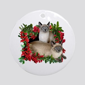 siamese cats in berries ornament round - Cat Christmas Decorations