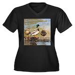 Mallard Ducks Women's Plus Size V-Neck Dark T-Shir