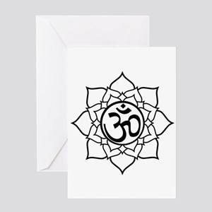 Om Lotus Blossom Greeting Card