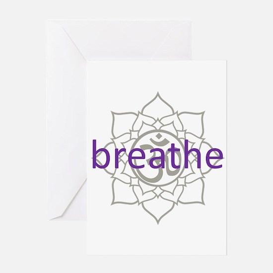 breathe Om Lotus Blossom Greeting Card