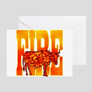 Chinese Fire Ox Greeting Card