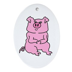 HUGE PAINTED ARTISTIC PIG Oval Ornament