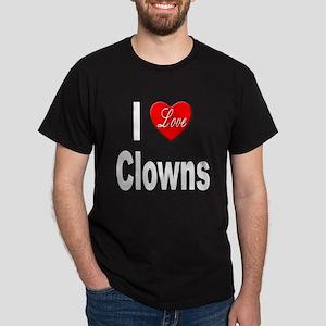 I Love Clowns (Front) Black T-Shirt