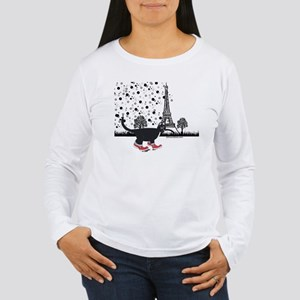 Tuxedo cat in Paris Women's Long Sleeve T-Shirt