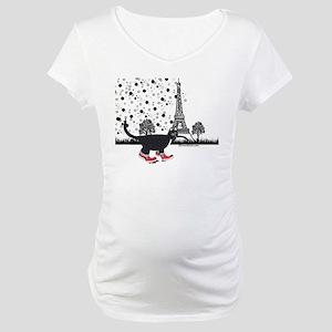 Tuxedo cat in Paris Maternity T-Shirt
