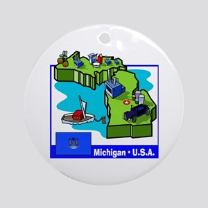 Michigan Map Ornament (Round)