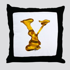 Blown Gold Y Throw Pillow