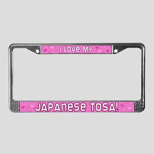 Pink Polka Dot Japanese Tosa License Plate Frame