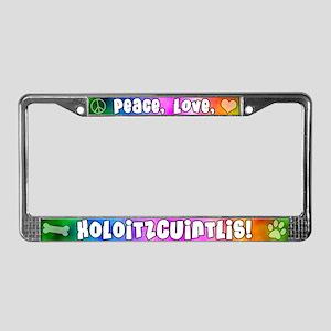 Hippie Xoloitzcuintli License Plate Frame