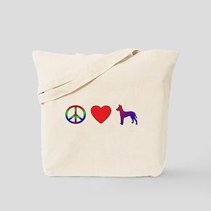 Peace Love Xoloitzcuintli Tote Bag