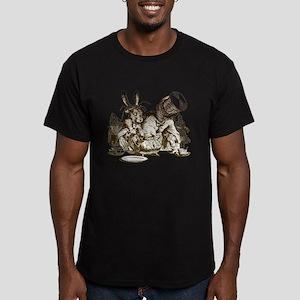 White Rabbit, Mad Hatter Men's Fitted T-Shirt (dar