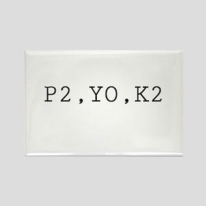 P2,YO,K2 (Knitting) Rectangle Magnet