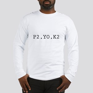 P2,YO,K2 (Knitting) Long Sleeve T-Shirt