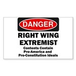 Danger Right Wing Extremist Rectangle Sticker